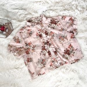 Blueh Ciel Sheer Pink Floral Crop Top Size Small